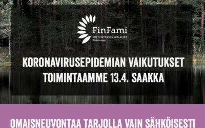 Päivitettyä tietoa koronaviruksen vaikutuksista Pirkanmaan FinFamin toimintaan 13.4. saakka