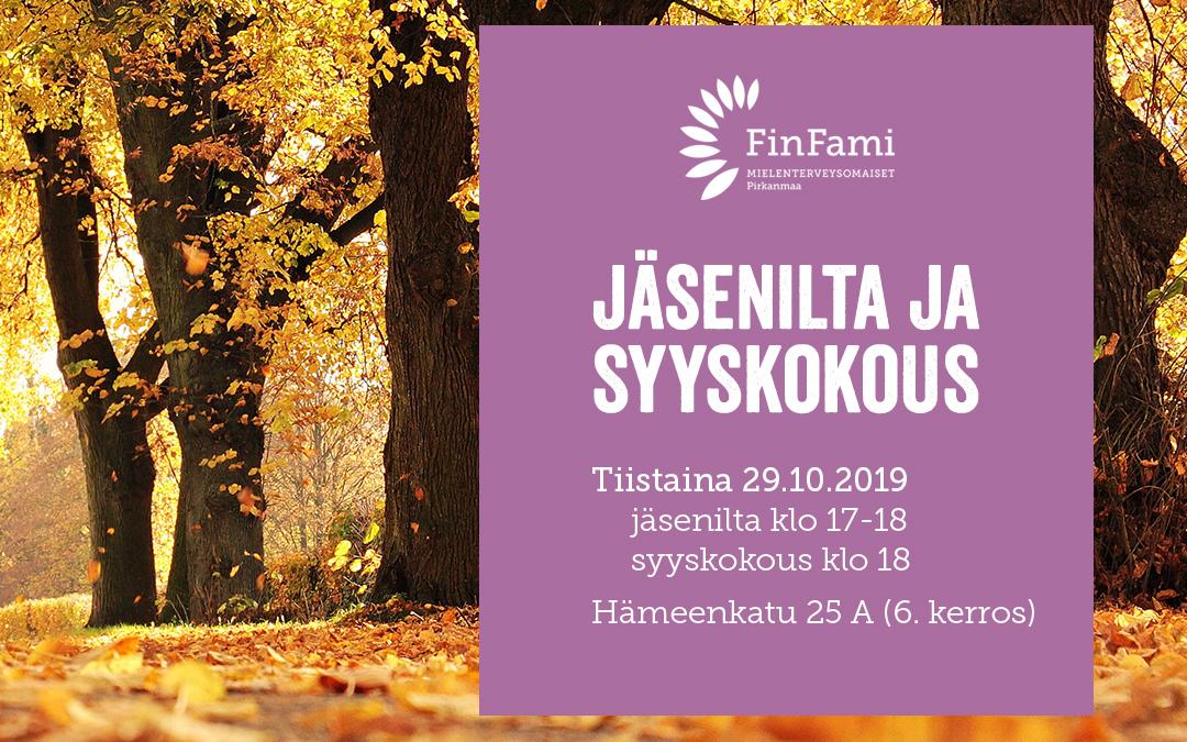 Jäsenilta ja syyskokous tiistaina 29.10.2019
